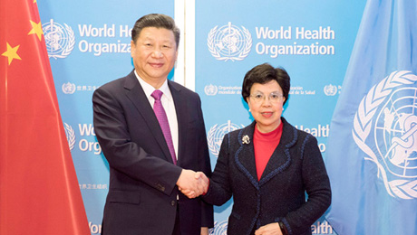 """习近温和陈冯富珍配合见证了《中华无需请求主动送彩金38共和国当局和天下卫生构造关于""""一带一起""""卫生范畴协作的体谅备忘录》等协议的签订。"""