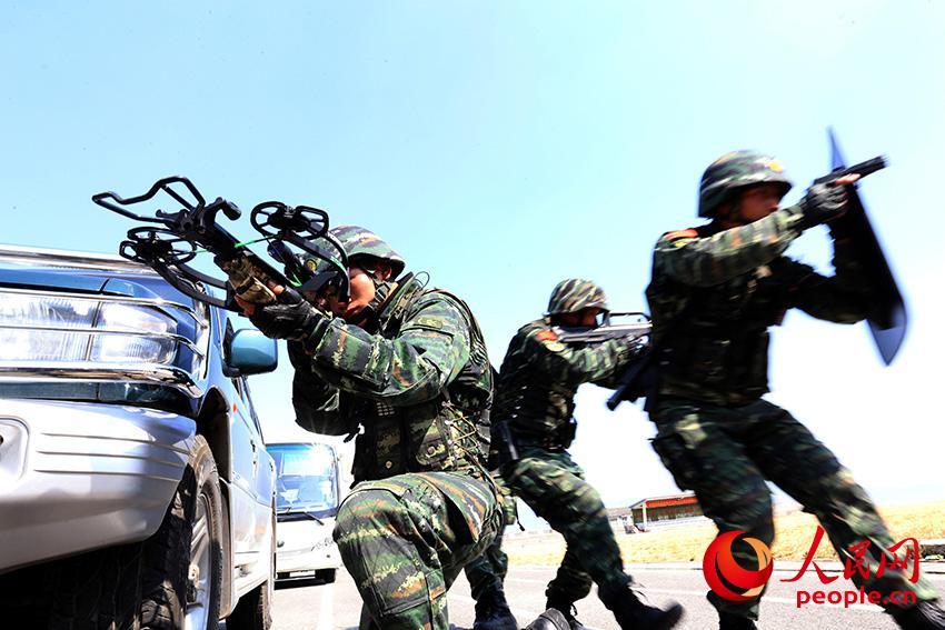 图为官兵在庞大状况下展开实战化军事训练时的场景。    马亮志摄