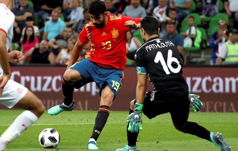 天下杯热身赛-科斯塔助攻神枪破门 西班牙1-0突尼斯