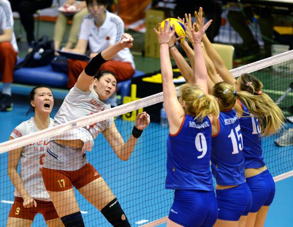 女排世界杯:中国队战胜塞尔维亚队