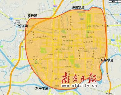 西南街道中心城区北至广三高速公路,西至工业大道,南至东平水道