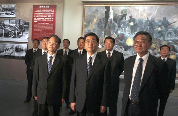 上午,党和国家领导人胡锦涛、吴邦国、温家宝、贾庆林、李长春、图片